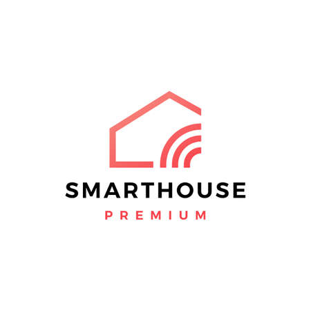 smart home house signal wifi wireless tech logo vector icon illustration