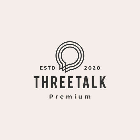 three talk chat bubble hipster vintage logo vector icon illustration