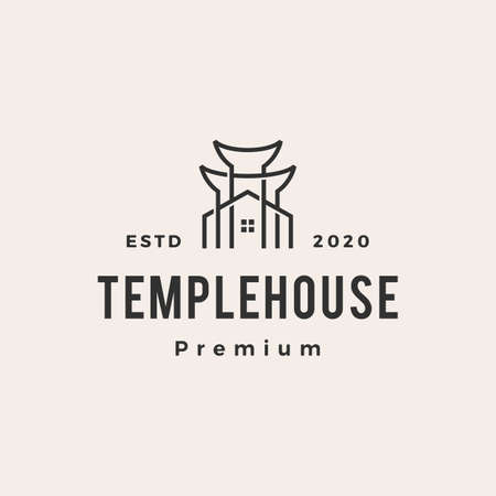 temple house hipster vintage logo vector icon illustration 矢量图像