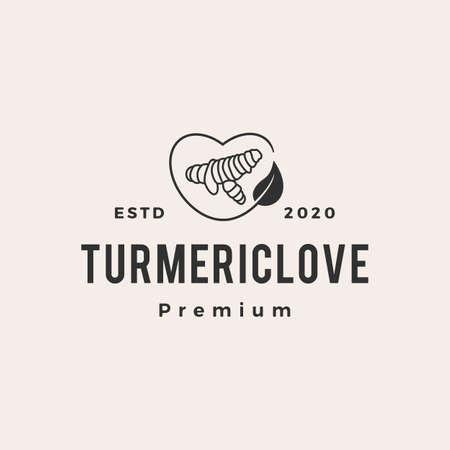 turmeric love hipster vintage logo vector icon illustration
