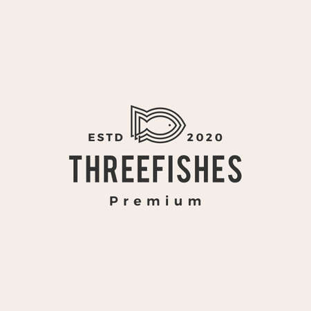 three fish line outline hipster vintage logo vector icon illustration