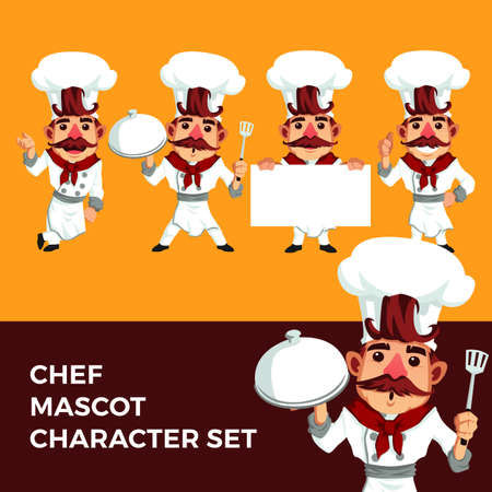 chef mascot character set logo vector icon illustration