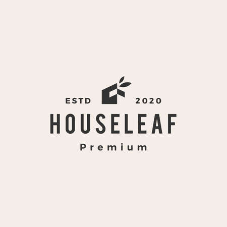leaf house home mortgage roof architect hipster vintage logo vector icon illustration