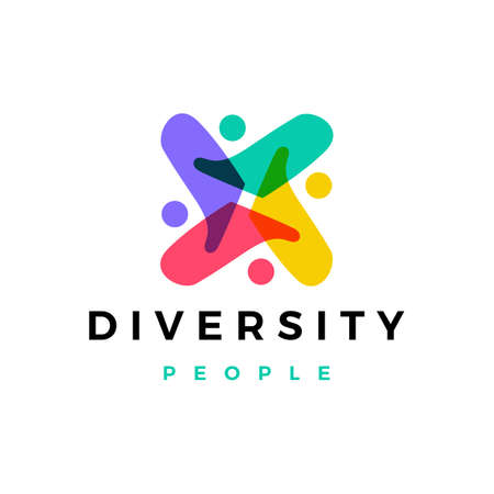 people family diversity colorful logo vector icon illustration