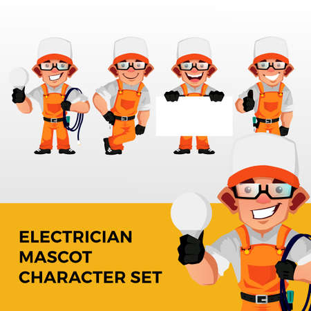electrician mascot character set logo vector icon illustration