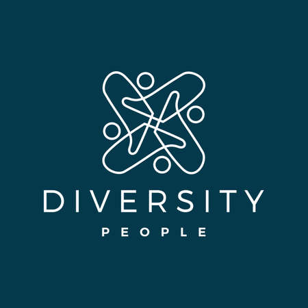 diversity people logo vector icon illustration
