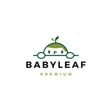 baby leaf logo vector icon illustration