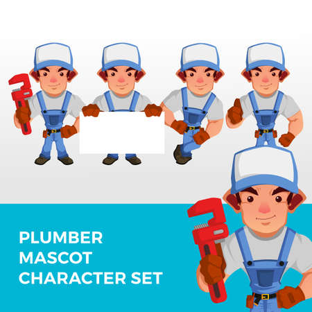 plumber mascot character set logo vector icon illustration