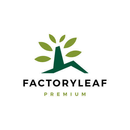 factory leaf logo vector icon illustration