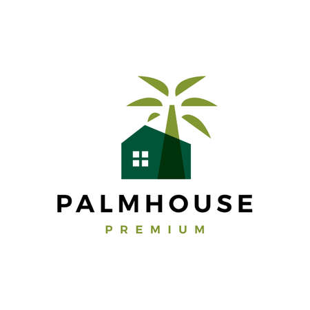 palm house logo vector icon illustration