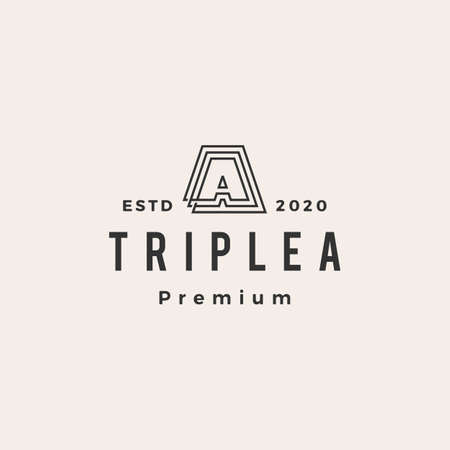 triple a hipster vintage logo vector icon illustration