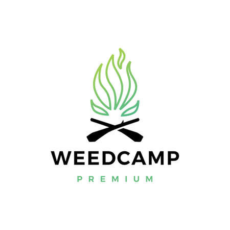 cannabis weed camp fire logo vector icon illustration 矢量图像