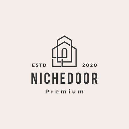 niche door house hipster vintage logo vector icon illustration