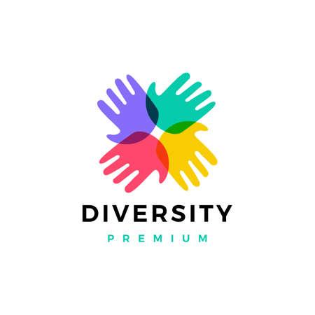 hand diversity team community logo vector icon illustration
