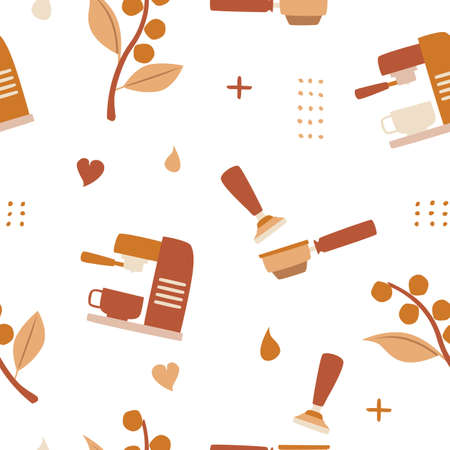 coffee seamless pattern background logo vector icon illustration