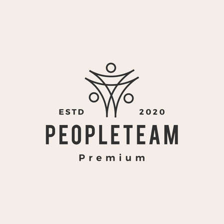 people family team hipster vintage logo vector icon illustration 矢量图像