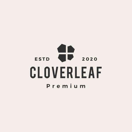 clover leaf hipster vintage logo vector icon illustration Ilustrace