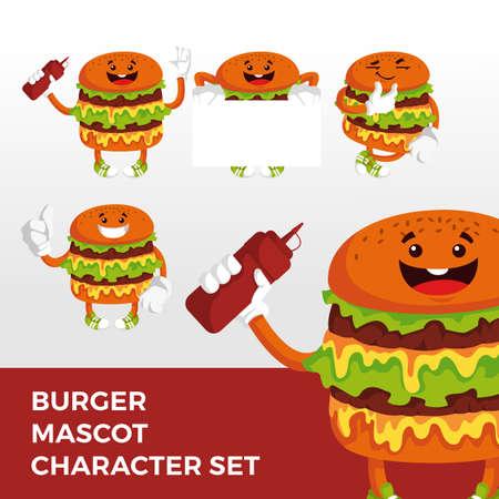 burger mascot character set logo vector icon illustration