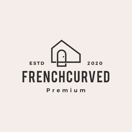 french curve niche door hipster vintage logo vector icon illustration