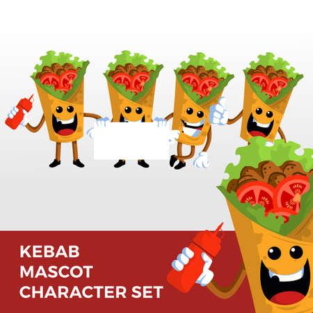 kebab mascot character set logo vector icon illustration