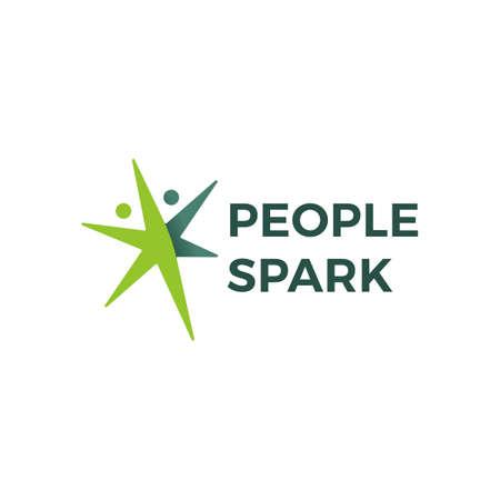 people spark health active logo vector icon illustration Illusztráció