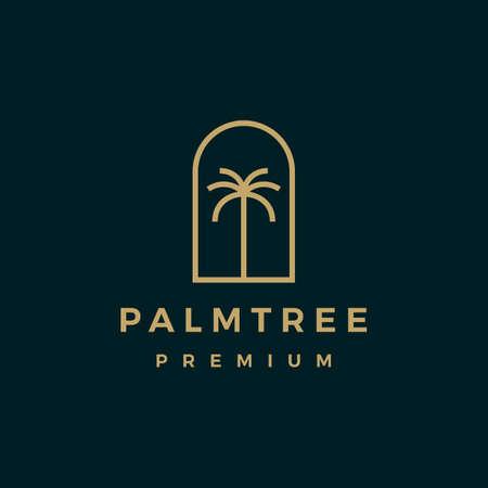 palm tree gold logo vector icon illustration