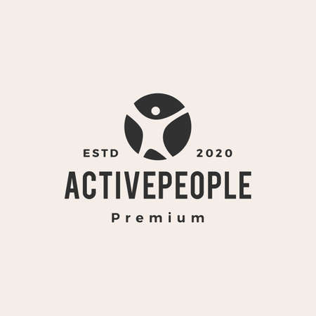 active people hipster vintage logo vector icon illustration