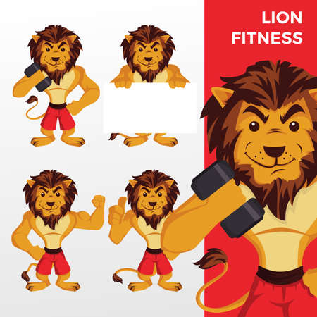lion fitness mascot character set logo vector icon illustration
