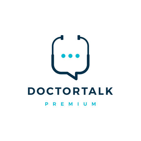 doctor chat talk logo vector icon illustration