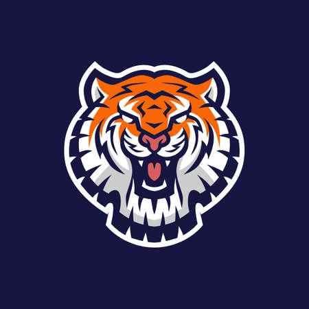 tiger head e sport logo vector icon illustration Illusztráció