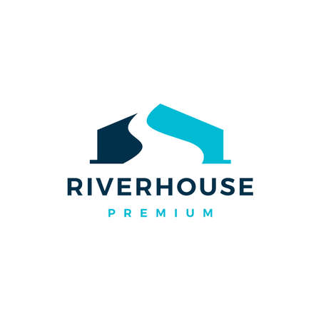 river house home mortgage logo vector icon illustration Illustration