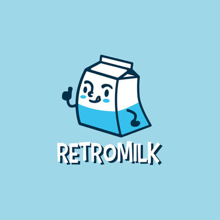 retro milk cartoon cute logo vector icon illustration