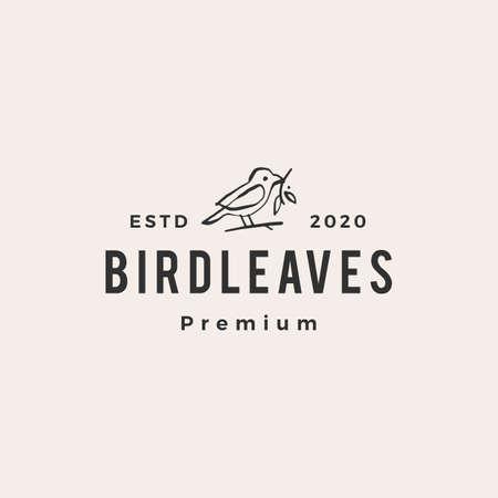 bird leaf hipster vintage logo vector icon illustration
