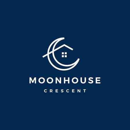 crescent moon house logo vector icon illustration Illusztráció