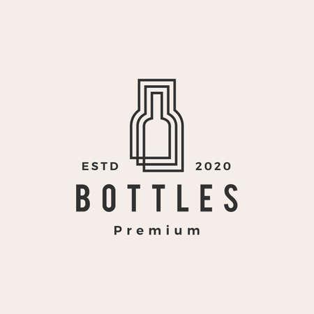 bottle hipster vintage logo vector icon illustration Illusztráció