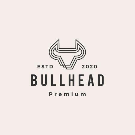 bull head hipster vintage logo vector icon illustration