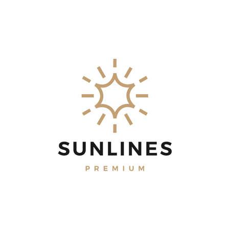 sun line logo vector icon illustration
