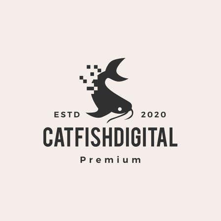 digital pixel catfish hipster vintage logo vector icon illustration
