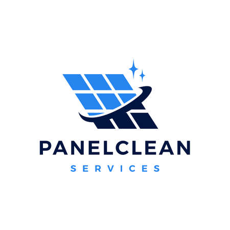 solar panel cleaning service  vector icon illustration