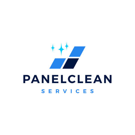 solar panel cleaning service logo vector icon illustration Illustration