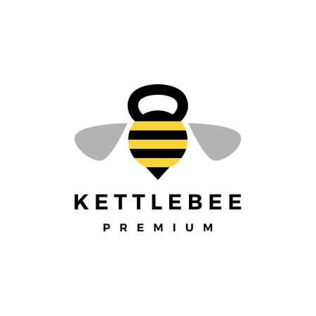 bee gym kettlebell fitness logo vector icon illustration