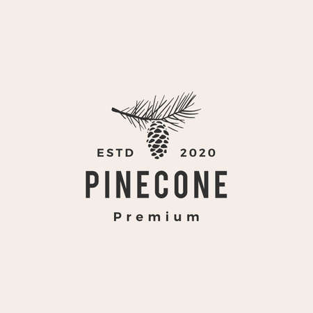 pine cone hipster vintage logo vector icon illustration Illustration
