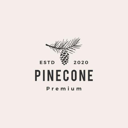 pine cone hipster vintage logo vector icon illustration Illusztráció