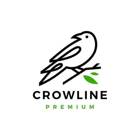 crow raven bird leaf line logo vector icon illustration