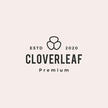 clover leaf hipster vintage logo vector icon illustration Illusztráció