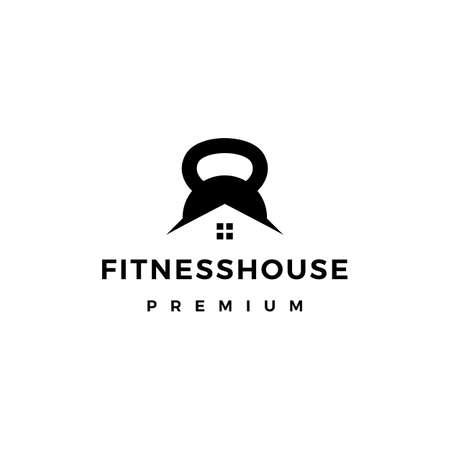 house gym kettlebell fitness logo vector icon illustration