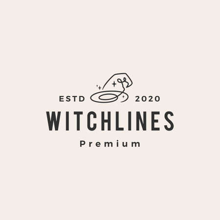 witch hat hipster vintage logo vector icon illustration