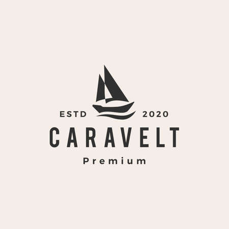 caravel boat hipster vintage logo vector icon illustration