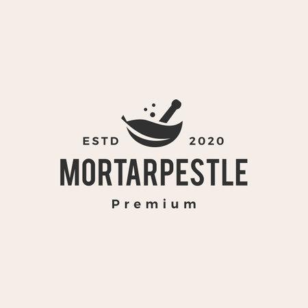 mortar pestle leaf bowl hipster vintage logo vector icon illustration