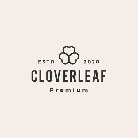 clover leaf hipster vintage logo vector icon illustration Ilustracja
